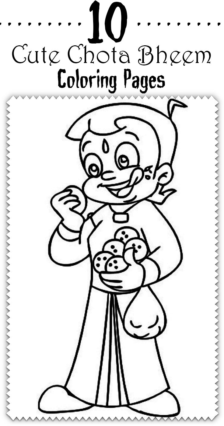 chota bheem drawing pictures and coloring sheets for kids happy
