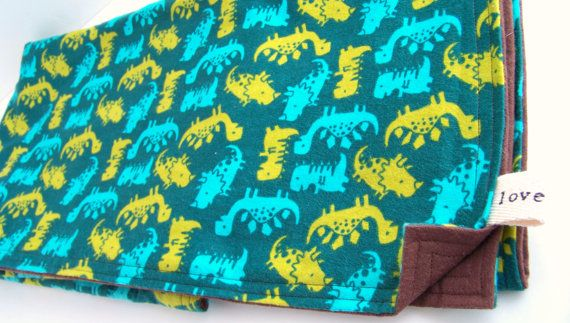 Baby Blanket Boys Dinosaur Green Brown Turquoise Africa Adoption Fundraiser