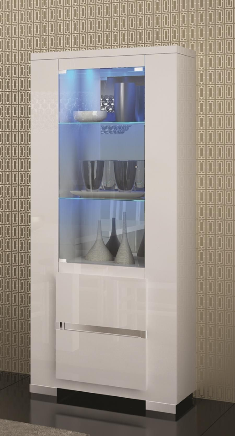 Elegance Display Unit In White Or Black High Gloss With Opt LED Lighting CabinetsLighting ProductsLiving Room FurnitureDining