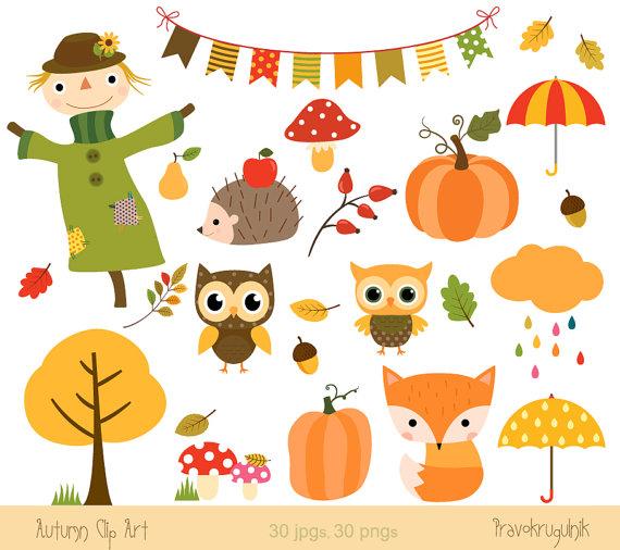 Autumn clipart, Fall clip art, Digital fall graphic, Scarecrow ...