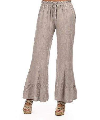 Look at this #zulilyfind! Taupe Drawstring Linen Flare Pants #zulilyfinds