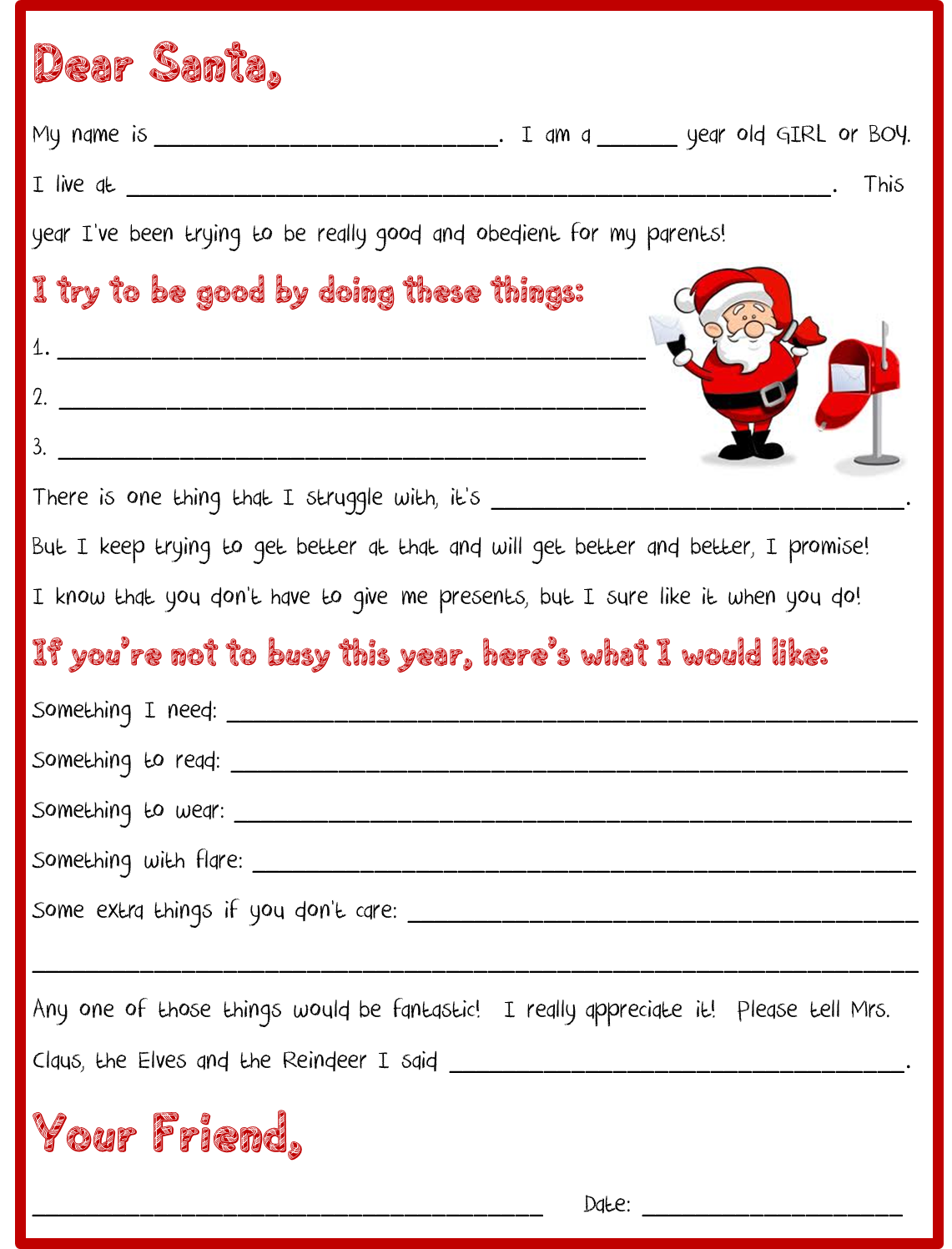 Letter To Santa From Kids By Holly