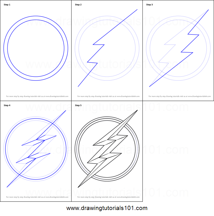 How To Draw The Flash Symbol Printable Drawing Sheet By Drawingtutorials101 Com Flash Drawing Symbol Drawing The Flash