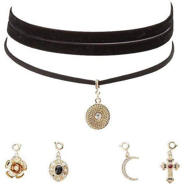 Charlotte Russe Detachable Charm Choker Necklaces - 2 Pack ($6) ❤ liked on Polyvore featuring jewelry, necklaces, gold, velvet jewelry, velvet necklace, lobster claw charms, velvet choker and charm necklaces