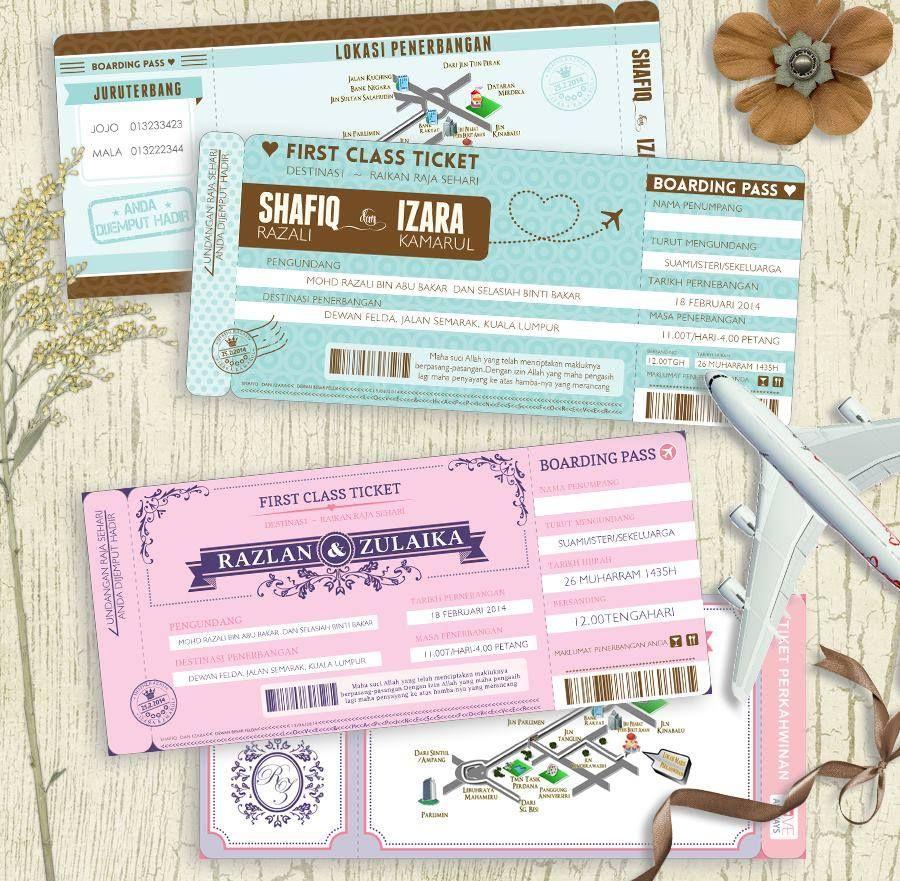 Kad Kahwin Tiket Kapal Terbang Fly Airline Ticket Kad