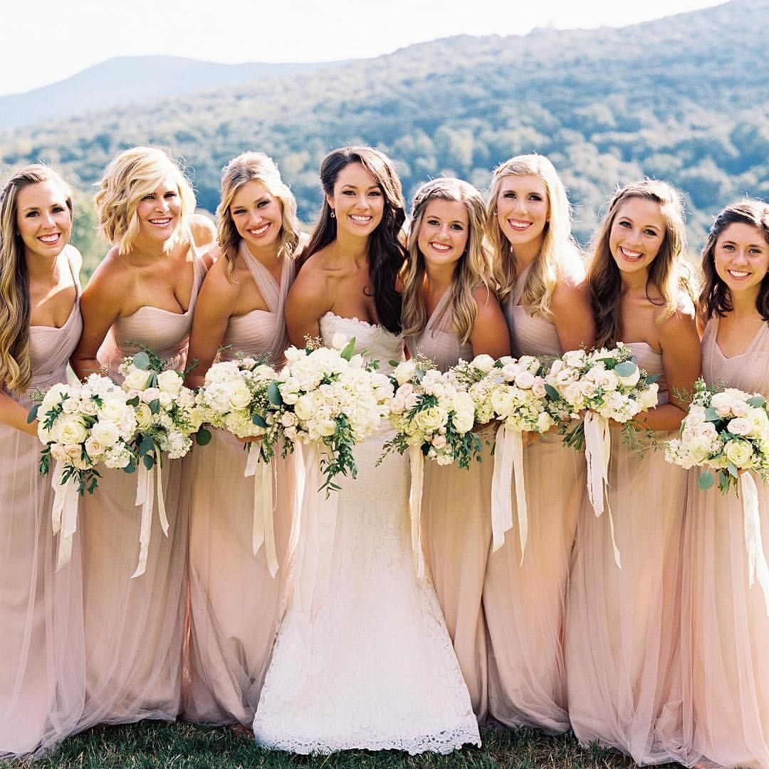 Blushing Bride Her Bridesmaids In Their Convertible Annabelle Dresses By Jenny Yoo