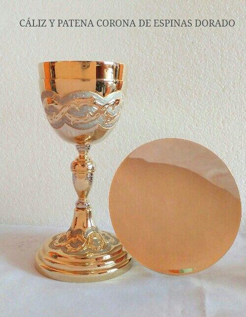 a678c318c12 Caliz y patena de latón con baño de oro modelo corona de espinas ...