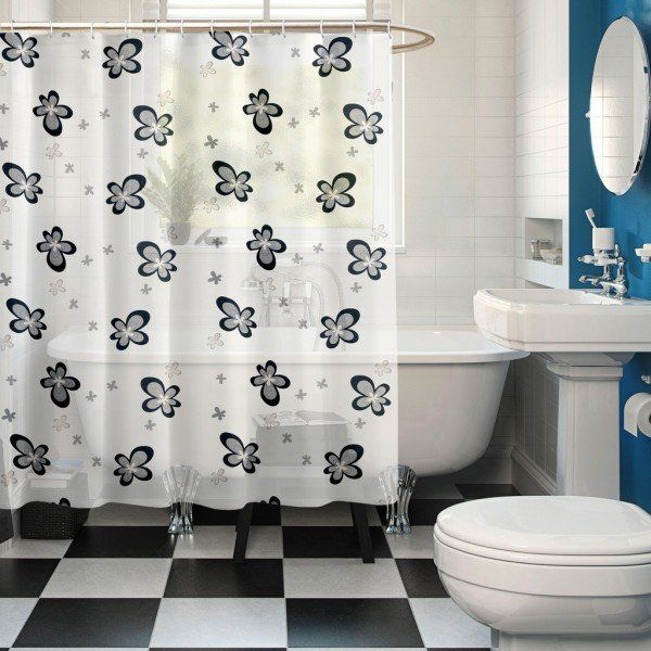 Black Flower Theme Buy Premium Ring Rod Bathroom Shower Curtains