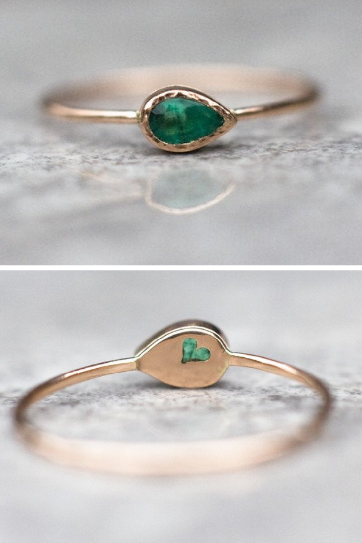 Beautiful, teardrop shaped emerald ring handcrafted in 14k rose gold. Beautiful and unique ring with natural emerald. The mounting around the stone is hammered and dainty band is polished. This simple design has got an exceptional detail in the back- lovely heart cut out.  ♥♥♥♥♥   #emeraldengagementrings, #emeraldgoldring #emeraldring #rosegoldring #emeraldheart #sustainablefashion #handmadering
