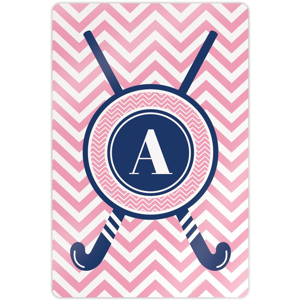 "Field Hockey 18"" X 12"" Aluminum Room Sign - Single Letter Monogram with Crossed Sticks and Chevron"