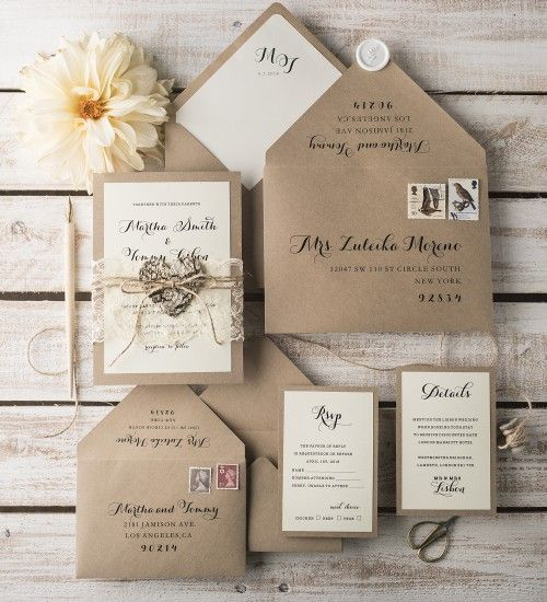 Inexpensive Wedding Invitation Ideas: 20 Chic Rustic Wedding Invitations From 4lovepolkadots