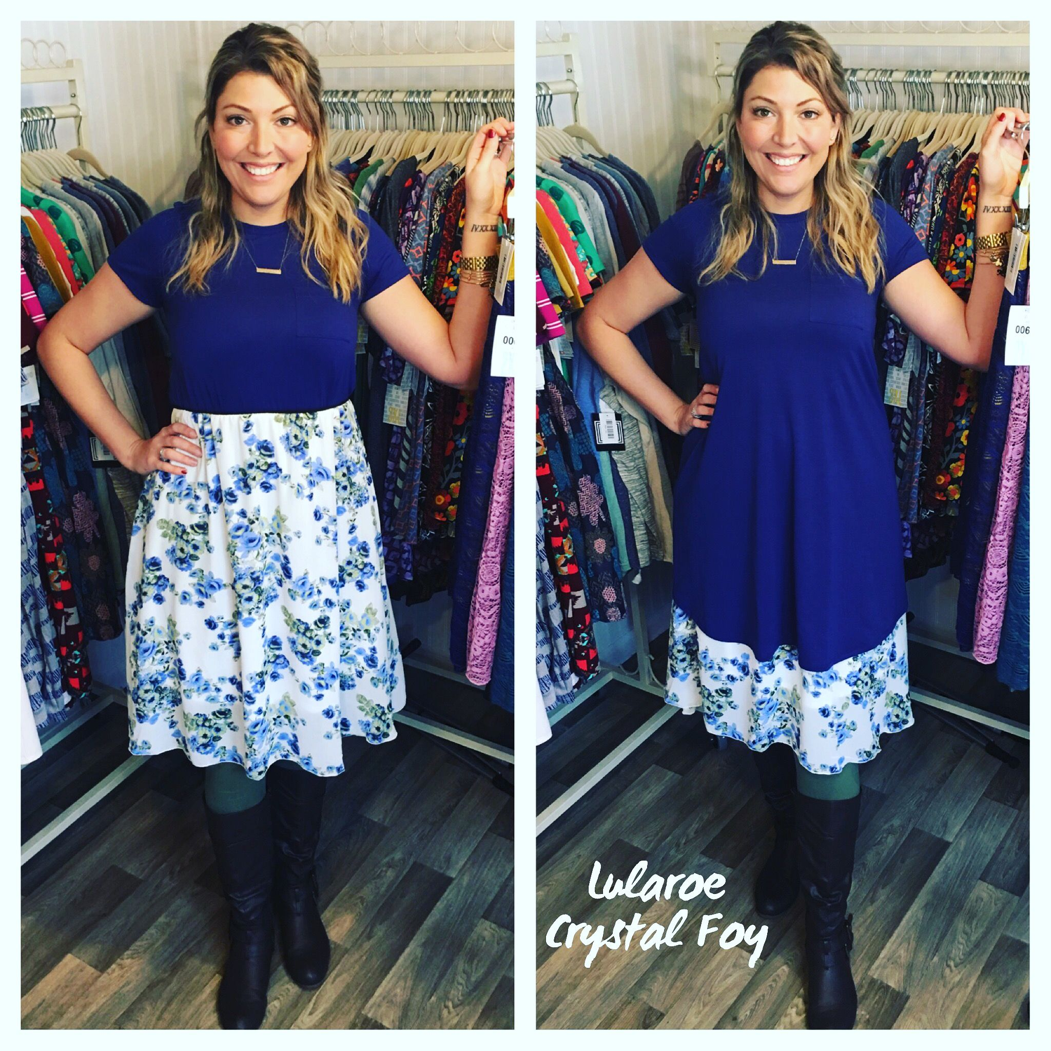 Lularoe outfit of the day! The Carly Dress is so versatile especially when  paired with the Lola skirt! You can wear the Lola over or under the Carly  for two ...