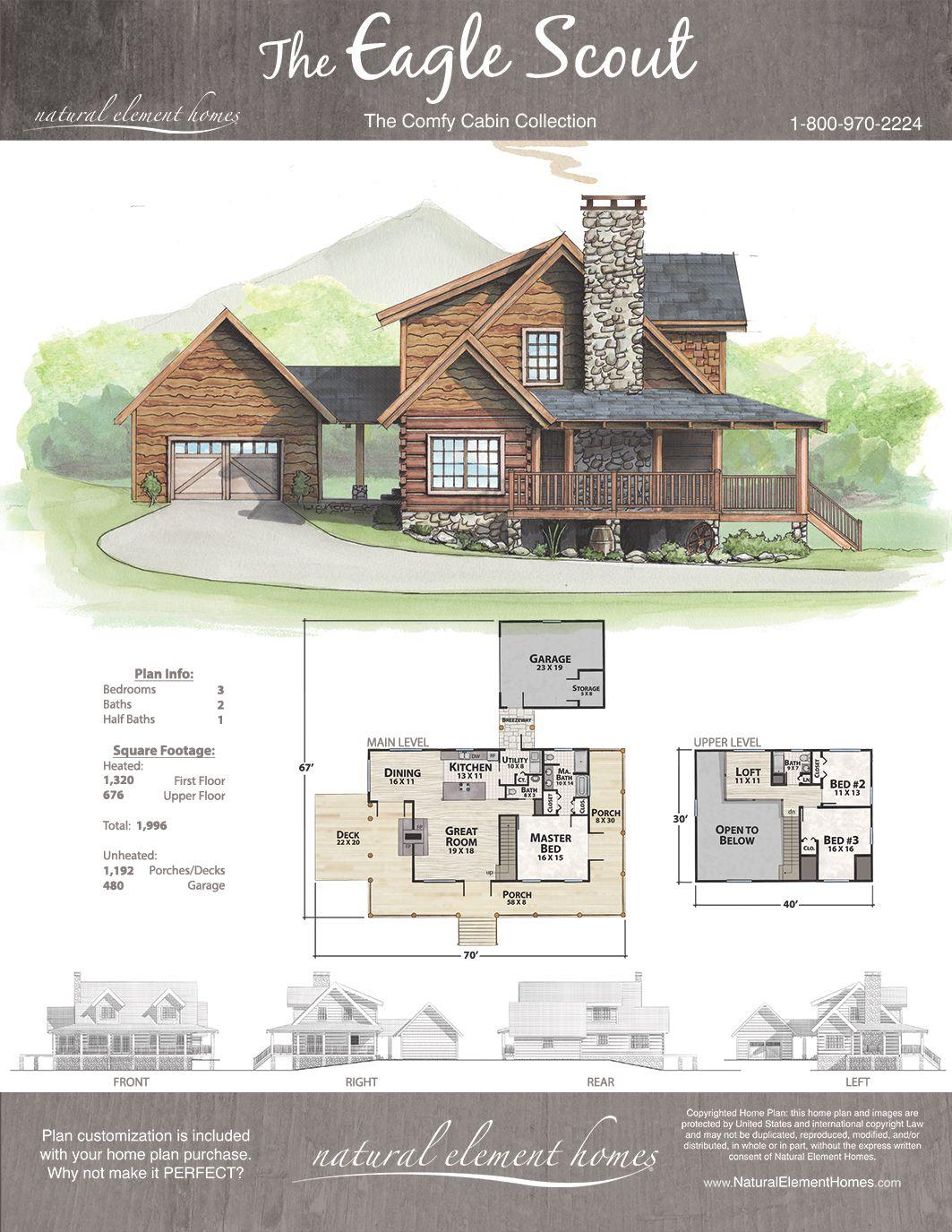 Eagle Scout Plan Comfy Cabins Natural Element Homes Dream House Plans Cabin House Plans House Blueprints