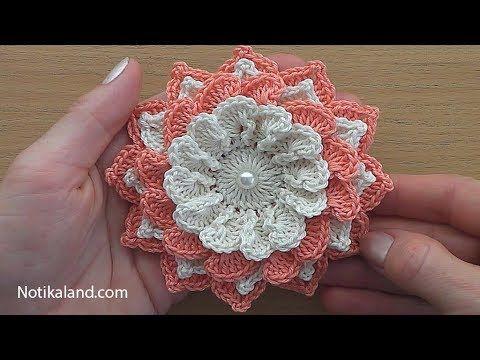 Crochet Flower Tutorial 4 Very Easy Youtube Croch Passo A
