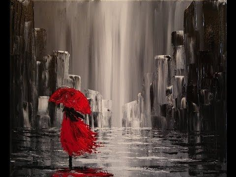 A walk in the rain step by step acrylic painting on canvas for Black and white acrylic painting techniques