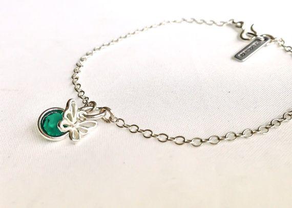 Silver charm bracelet, sterling silver, birthstone charm, butterfly charm bracelet