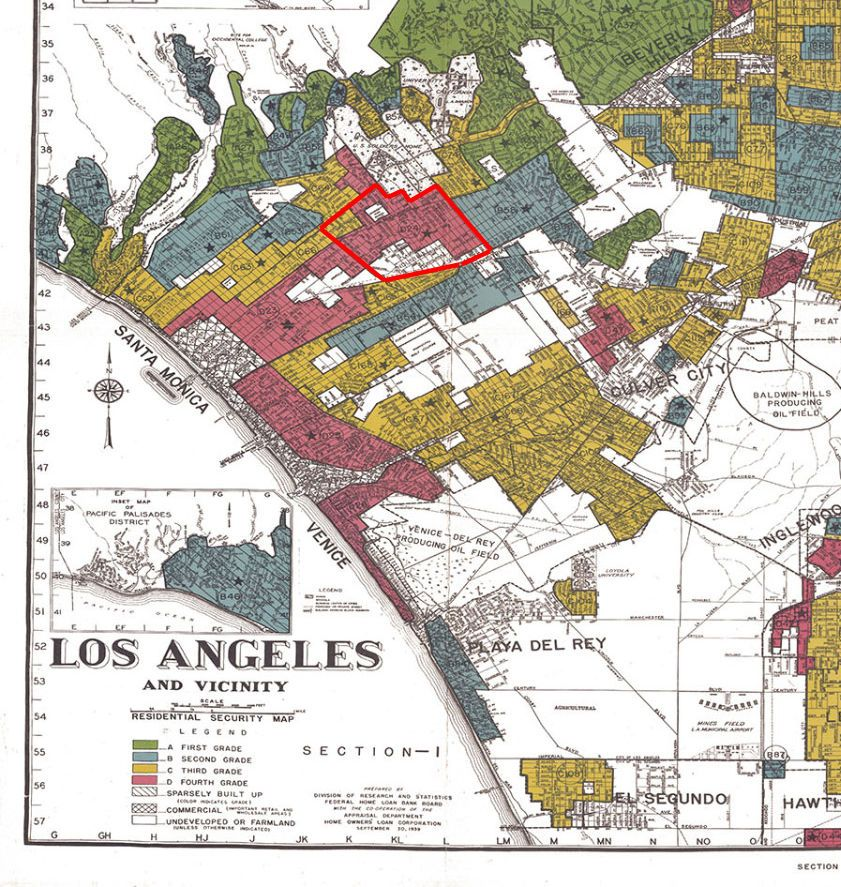 1939 Holc Redlining Map Of Westside And Sawtelle Redlining Is A Discriminatory Practice In Real Estate Typically Invol The Borrowers West Los Angeles Lenders