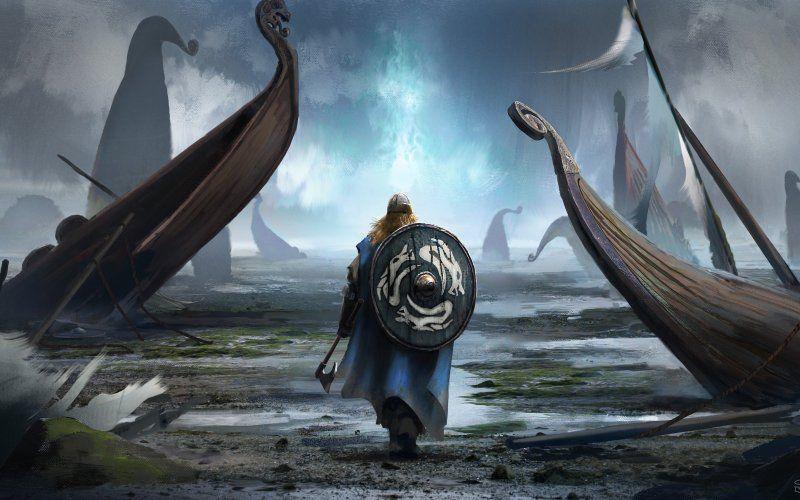 Viking Odin Norse Valhalla Guerrero Vikingo Arte
