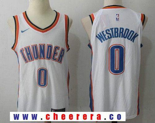 154076343 Men s Oklahoma City Thunder  0 Russell Westbrook New White 2017-2018 Nike  Swingman Stitched