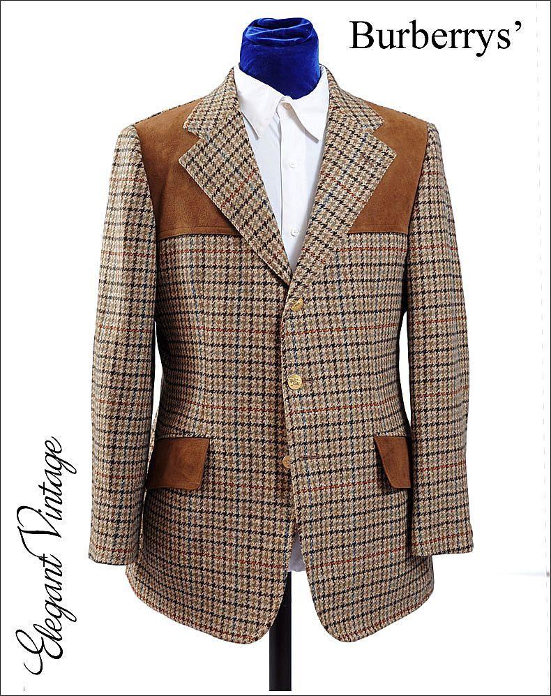 Vintage Burberry Houndstooth Tweed Shooting Hacking Jacket Sport ...