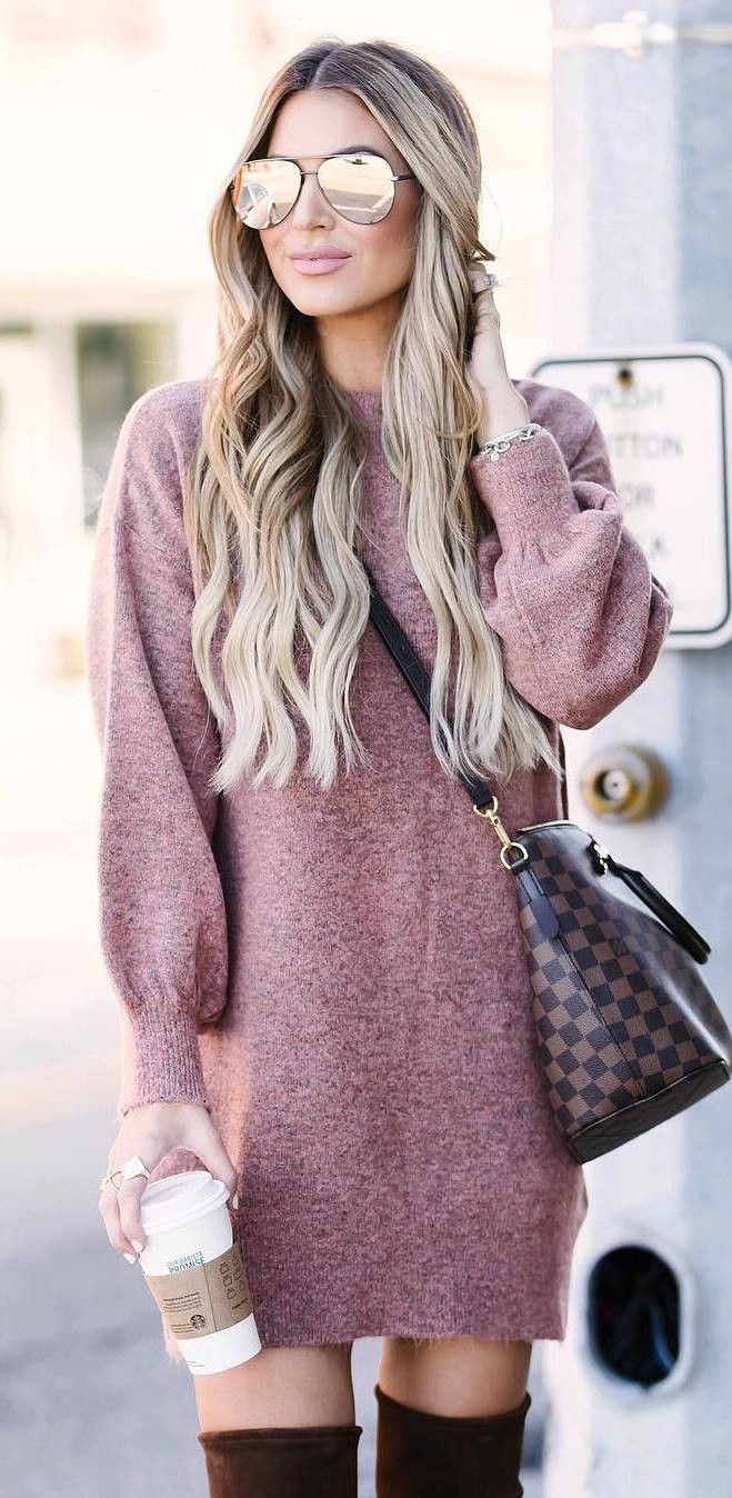 beautiful winter outfit   sweater dress + bag + over the knee boots