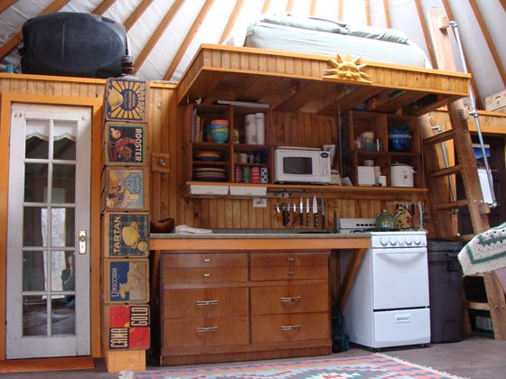 Yurt Kitchen With Loft @Gina Ritter    Hmmm Probably Not Tall Enough In An