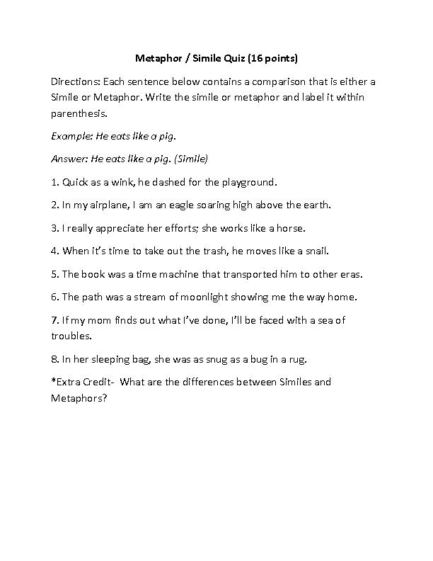 Englishlinx Figures Of Speech Worksheets Edu Figurative