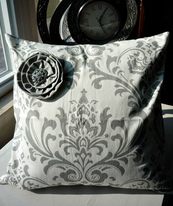 Paris Storm Gray French Damask Decorative by greenwillowpond