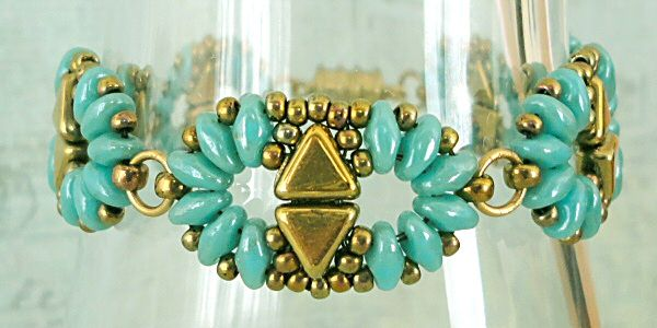 Linda's Crafty Inspirations: Bracelet of the Day: Duo Kheops - Baby Blue Star Dust & Gold (I brightened up the photos)
