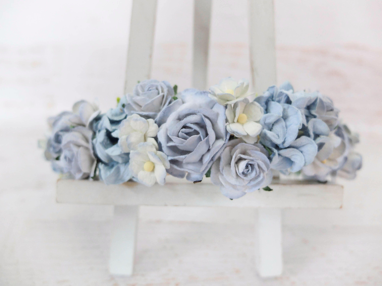Light blue wedding flower crown bridal head wreath floral light blue wedding flower crown bridal head wreath floral headpiece girl by musefleur on izmirmasajfo