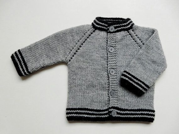 Hand Knit Baby Boy Sweater 3 6 Months Light Gray With Black