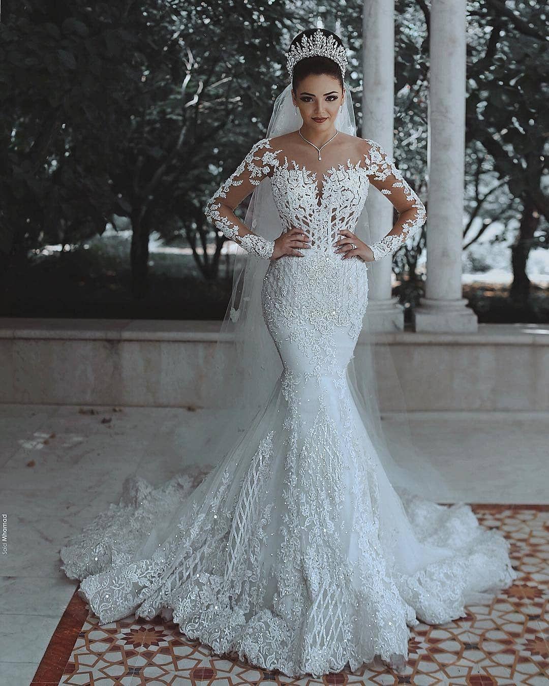 Luxury Brautkleider Spitze Weiße Hochzeitskleider Mit Ärmel Schleier Modellnummer:  XY243-BA9863 #bridepictures