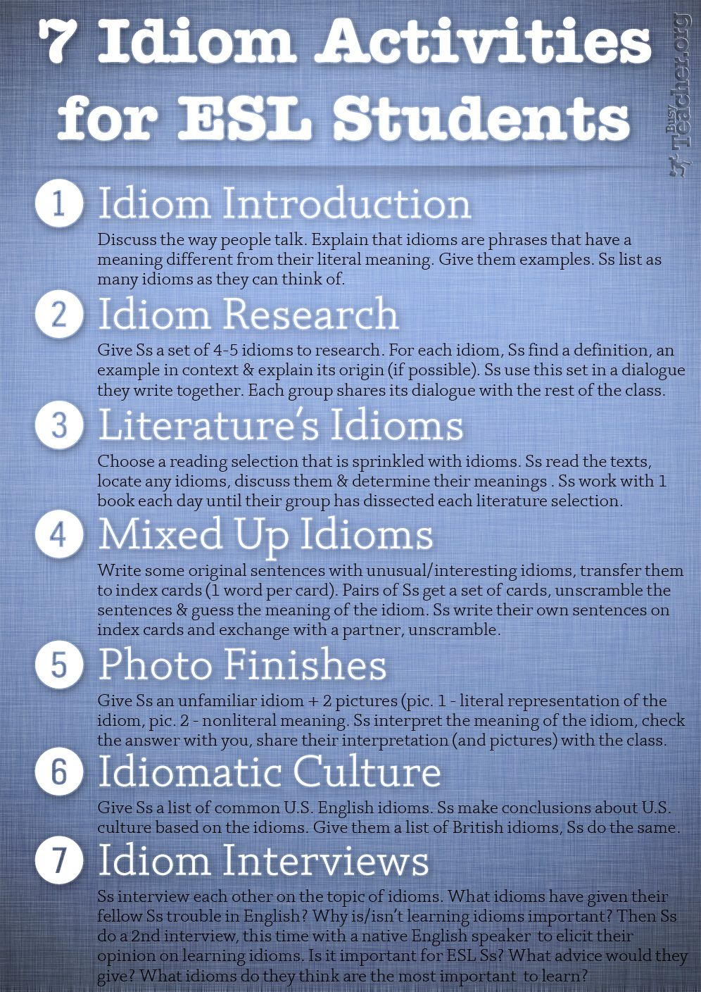 7 Idiom Activities For Esl Students This Is Great For Them To Start