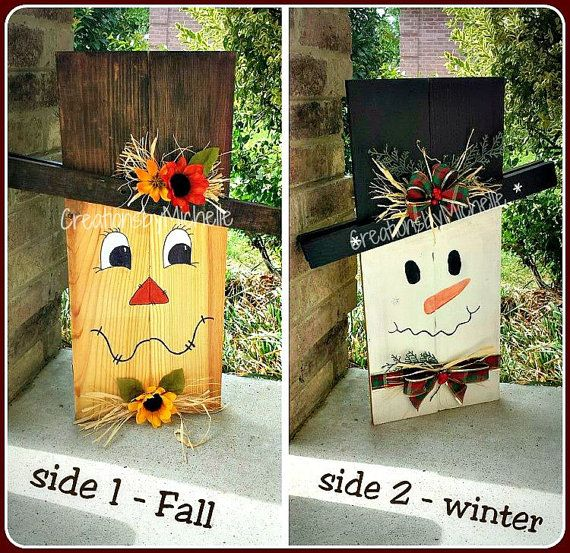 Rustic snowcrow fall winter reversible decor scarecrow for Rustic snowman decor