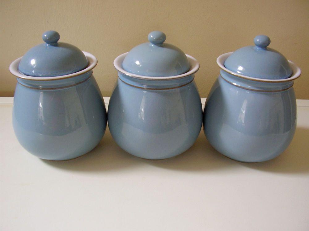 3 x rare denby colonial blue storage jars | Denby | Pinterest ...