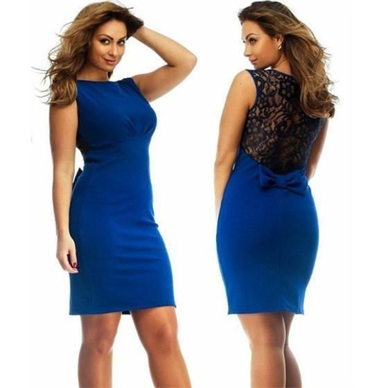 Women Casual Sleeveless Bodycon Dress, Sexy Lace Back, Plus Size L-6XL