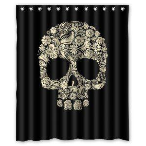 Robot Check Sugar Skull Shower Curtain Skull Shower Curtain Fabric Decor