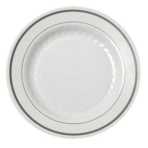 12 White China-like Disposable Dinner/Lunch Plates - Silver Trim  sc 1 st  Pinterest & 12 White China-like Disposable Dinner/Lunch Plates - Silver Trim ...