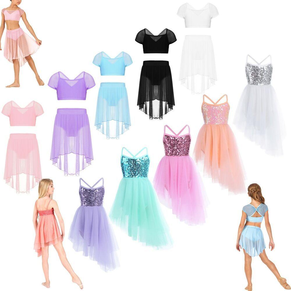 Girls Lyrical Dance Dress Ballet Kids Sequined Leotard Skirt Dancewear Costumes