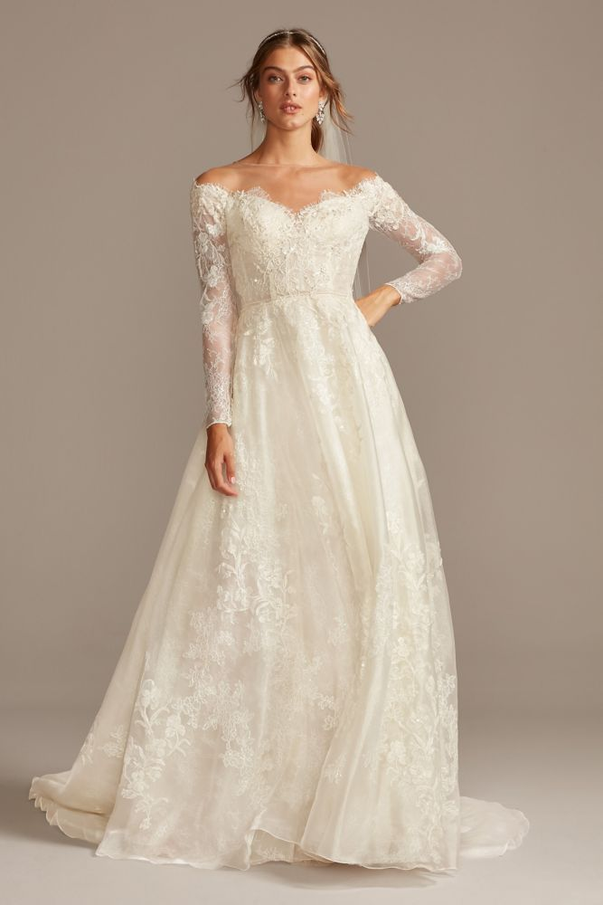 Shimmer Lace Long Sleeve Applique Wedding Dress David S Bridal In 2020 Long Sleeve Wedding Dress Lace Petite Wedding Dress Applique Wedding Dress