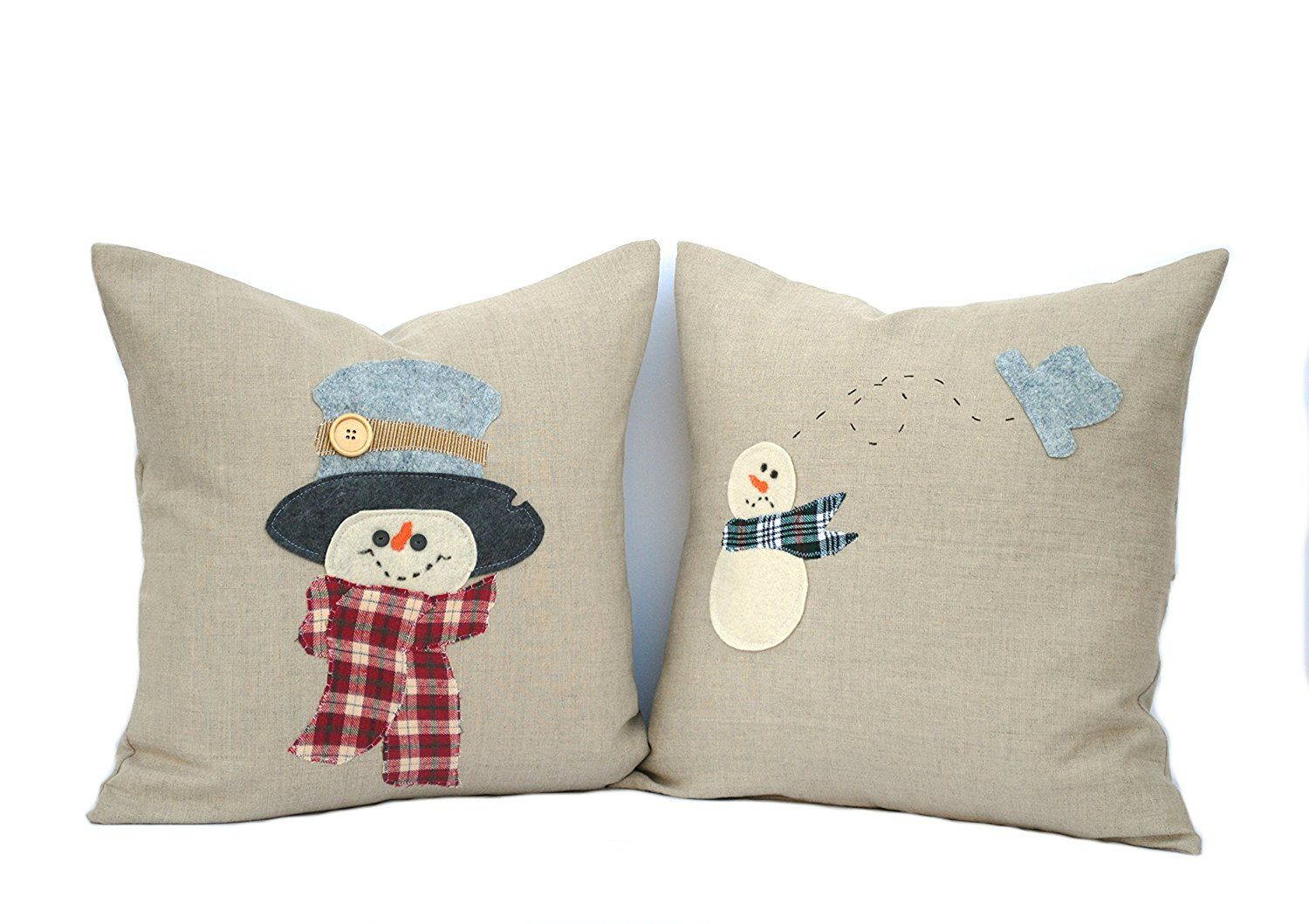 two hand made snowman christmas pillow covers 18x18 holiday pillow decorative pillow cushion