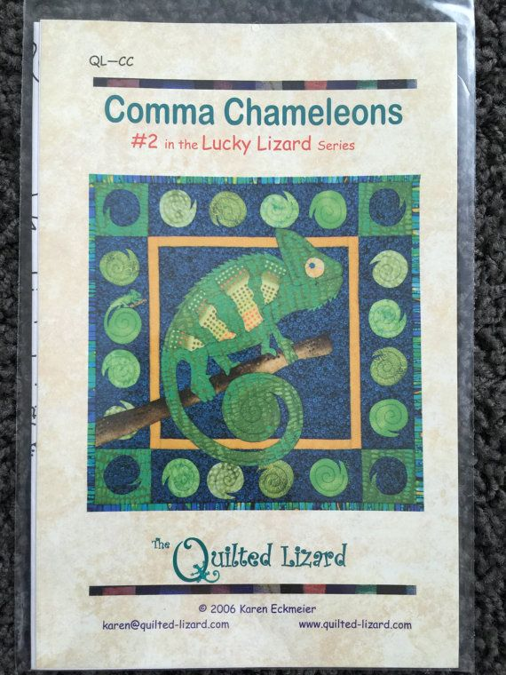 Comma Chameleons 2 in the Lucky Lizard Series Quilt by Vntgfindz