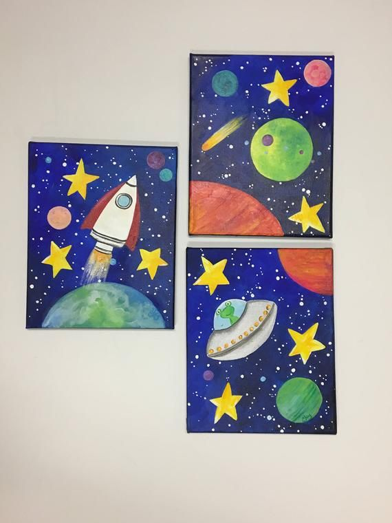 CUSTOM Space Themed Wall Art for Kids, Set von 3 8x10 Zoll Acryl auf Leinwand Gemälde für Kinder