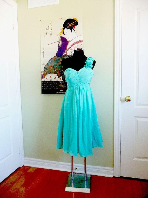 Aqua Bridesmaid Dress Aqua Short Dress Chiffon by ...
