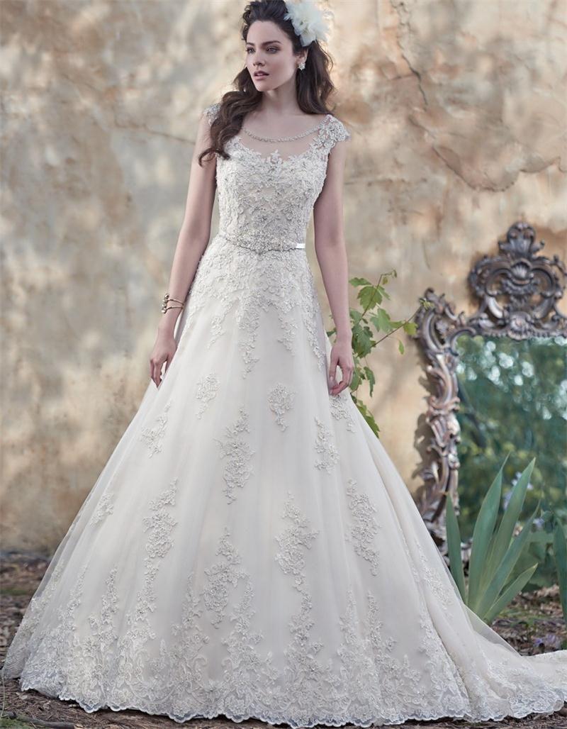 Wedding dress beaded back   Princess Lace Beaded Wedding Dresses with Sashes Cap Sleeves