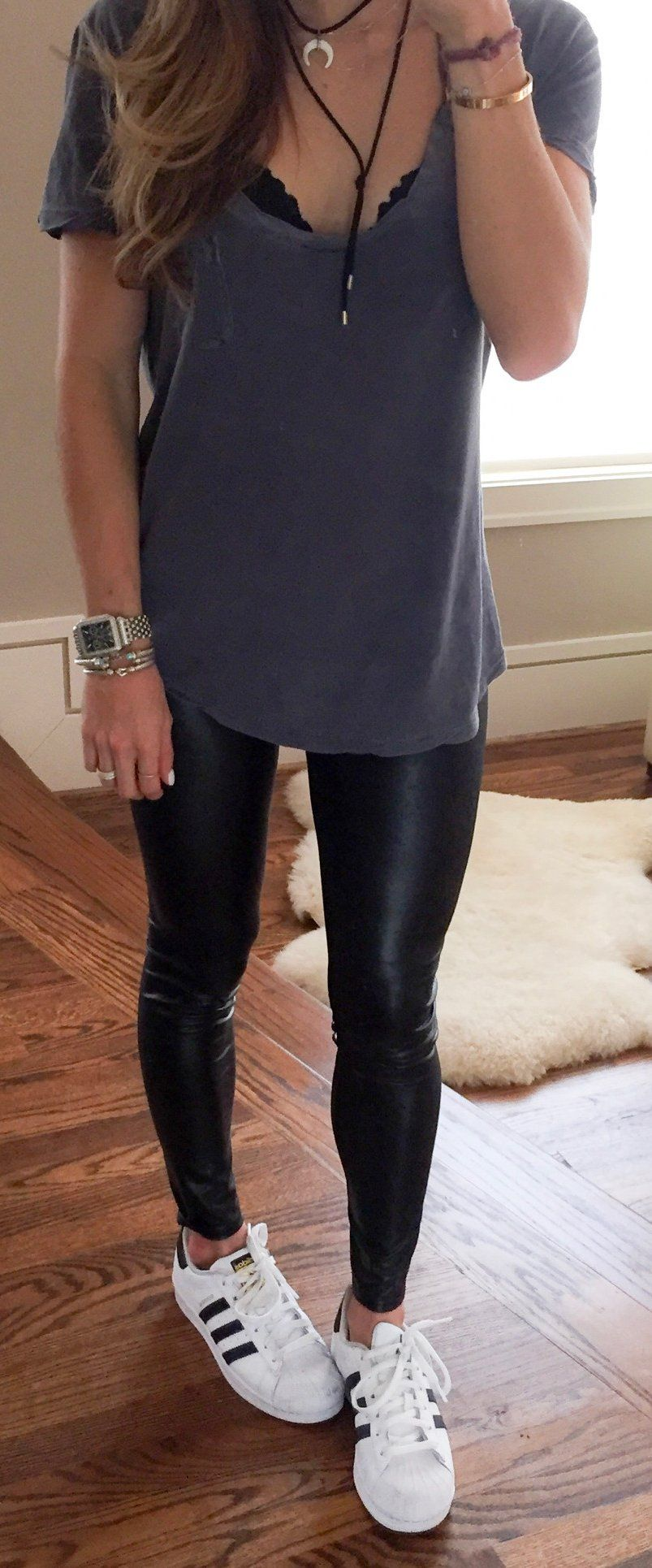 grey top  black leather leggings  white sneakers