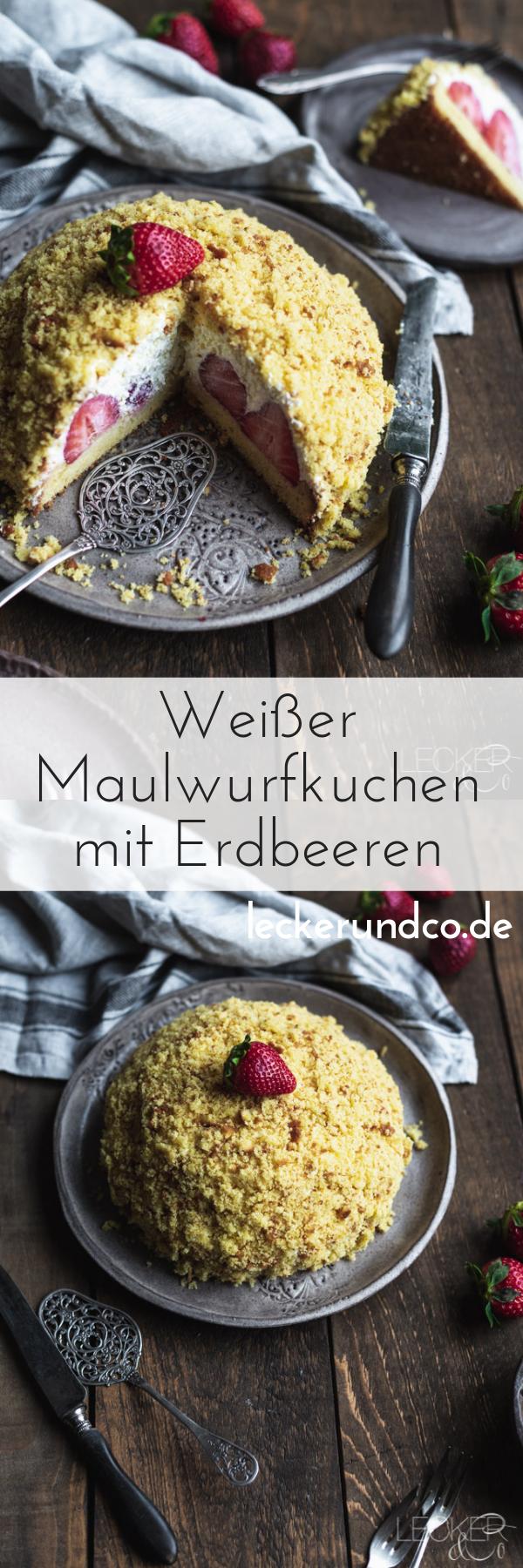Weißer Maulwurfkuchen mit Erdbeeren | LECKER&Co | Foodblog aus Nürnberg