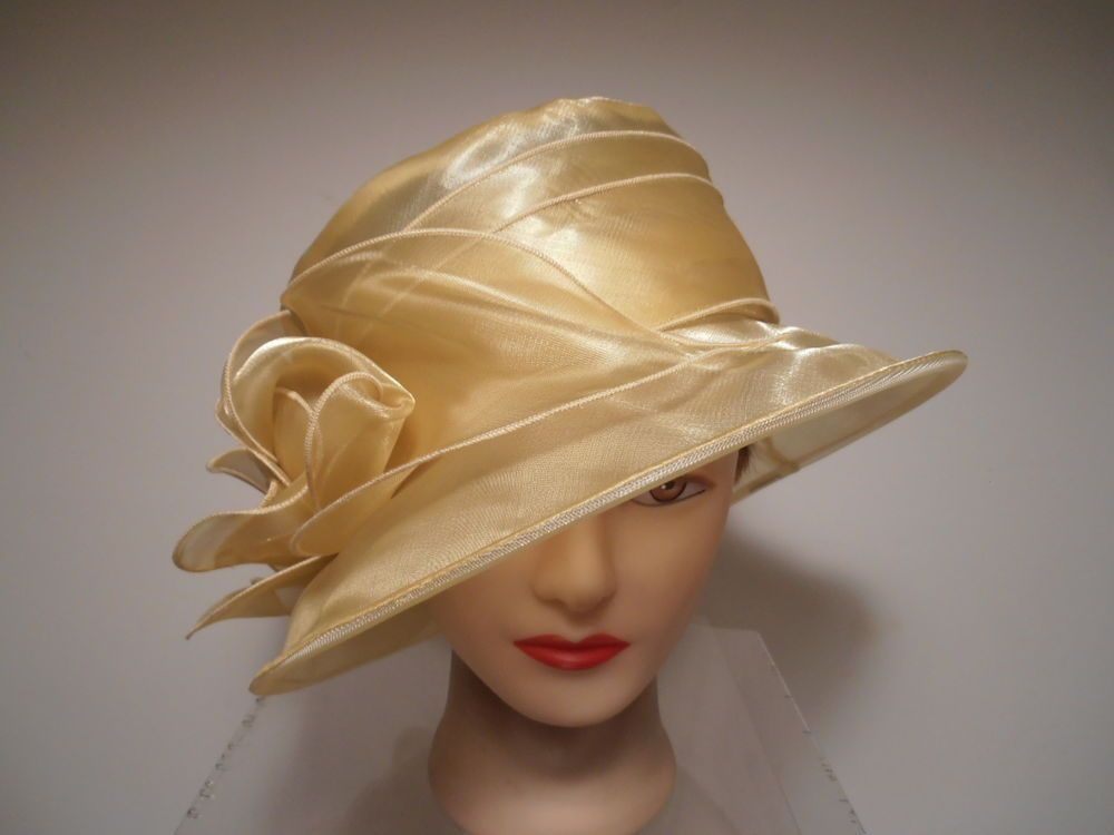 7c3bd208 Hat - BUTTER Yellow Organza Wide Brim Kentucky Derby Wedding Church  ROSETTES in Clothing, Shoes & Accessories | eBay