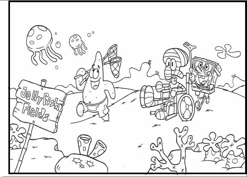 coloring pages of spongebob squarepants and friends   Spongebob And Friends To Jellyfish Fields coloring picture ...