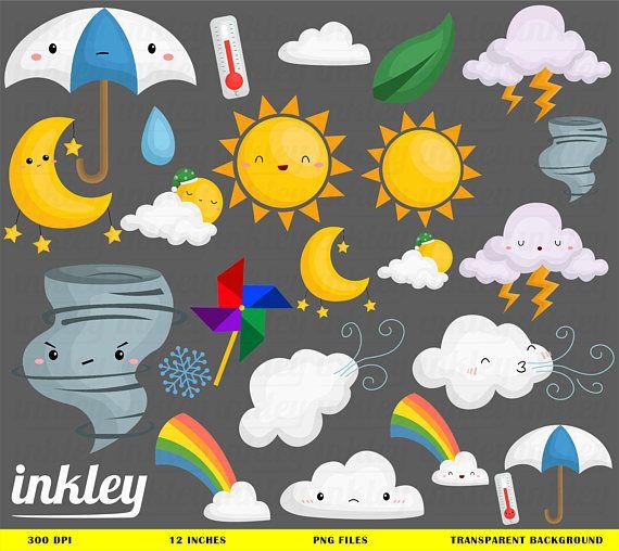 Weather Icon Clipart  Seasonal Weather Clip Art  Four Season | Etsy